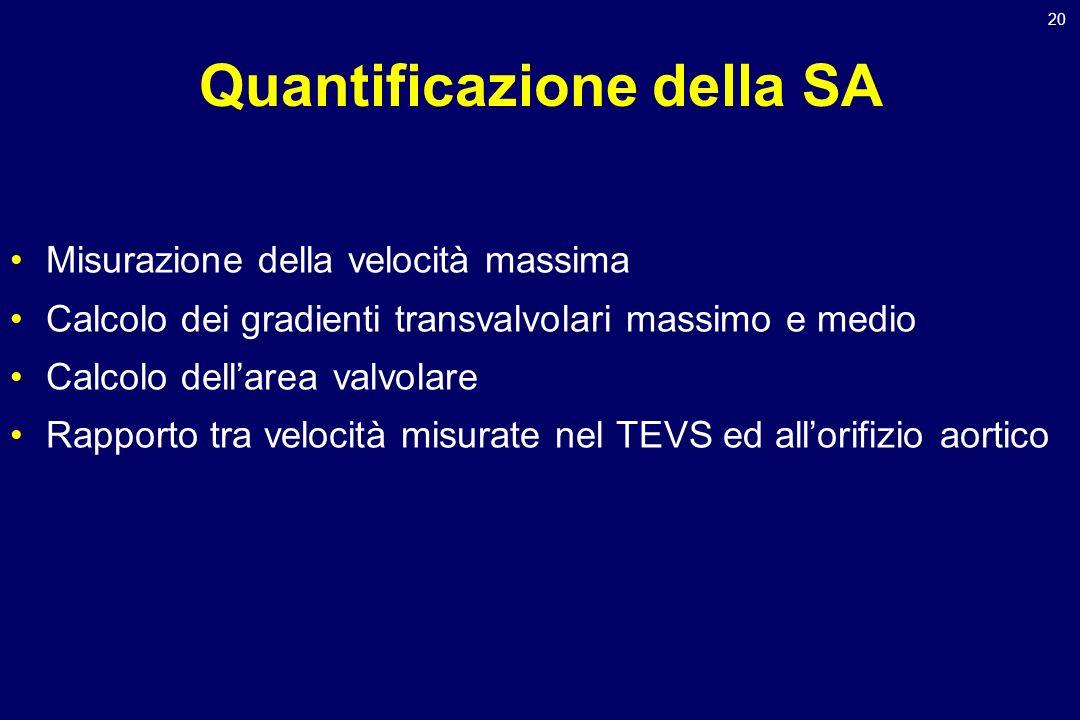 20 Quantificazione della SA Misurazione della velocità massima Calcolo dei gradienti transvalvolari massimo e medio Calcolo dellarea valvolare Rapport