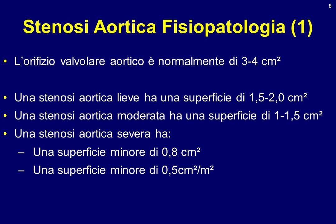 8 Stenosi Aortica Fisiopatologia (1) Lorifizio valvolare aortico è normalmente di 3-4 cm² Una stenosi aortica lieve ha una superficie di 1,5-2,0 cm² U