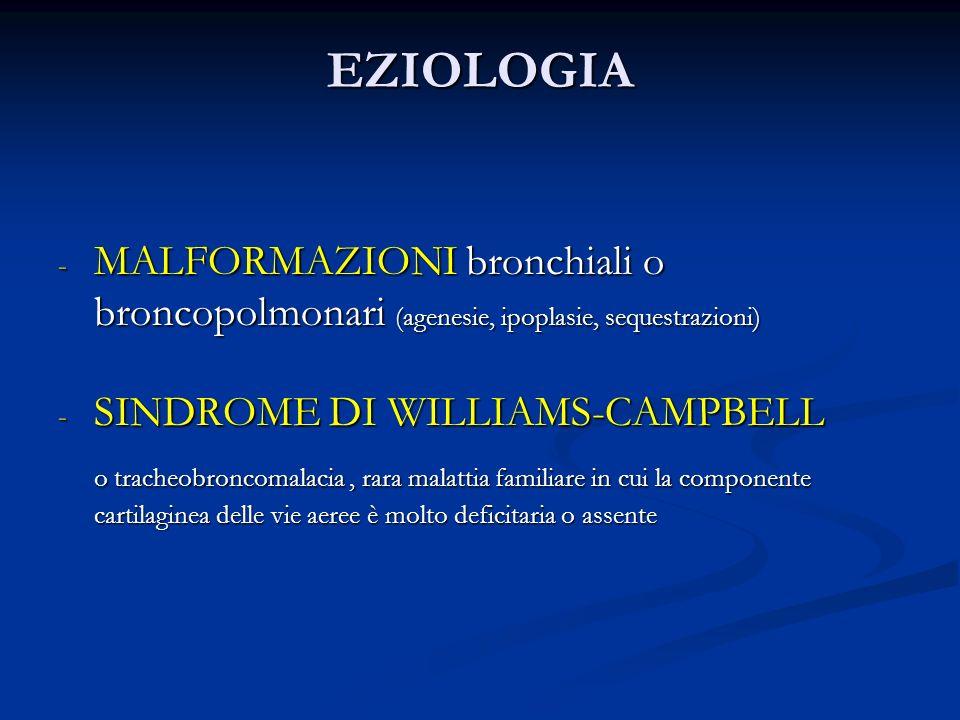 EZIOLOGIA - MALFORMAZIONI bronchiali o broncopolmonari (agenesie, ipoplasie, sequestrazioni) - SINDROME DI WILLIAMS-CAMPBELL o tracheobroncomalacia, rara malattia familiare in cui la componente cartilaginea delle vie aeree è molto deficitaria o assente