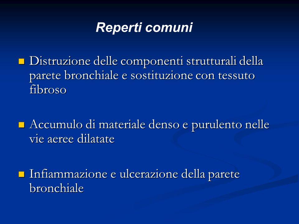Distruzione delle componenti strutturali della parete bronchiale e sostituzione con tessuto fibroso Distruzione delle componenti strutturali della par
