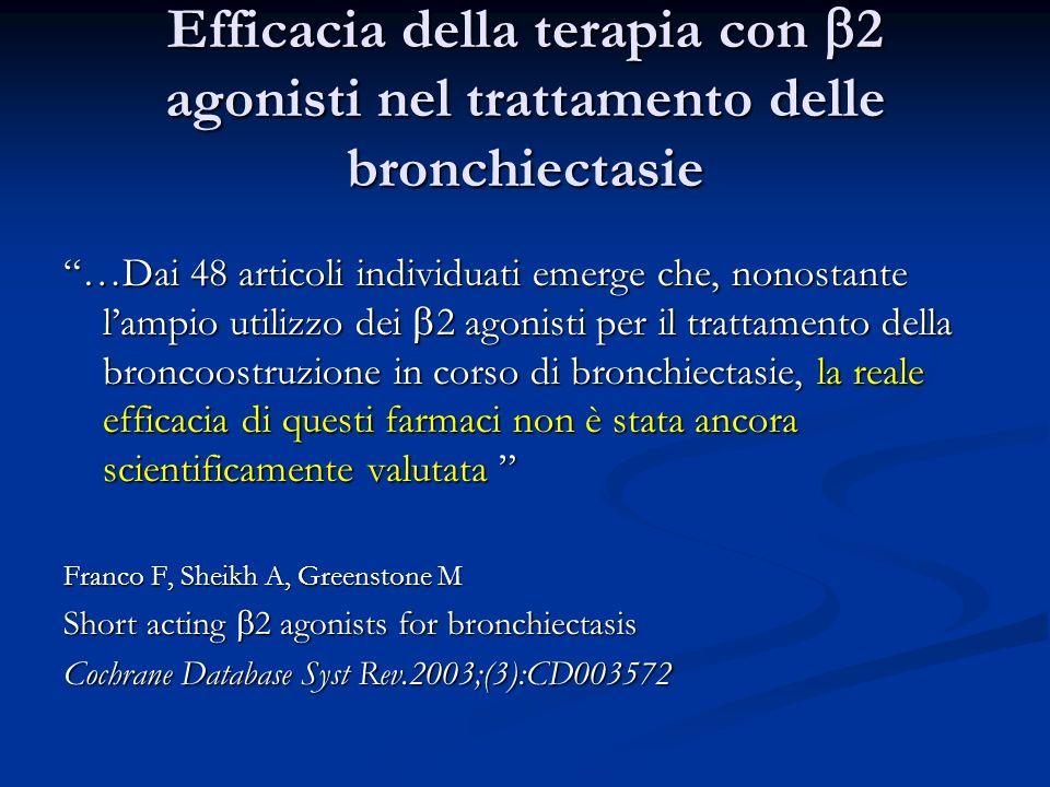Efficacia della terapia con 2 agonisti nel trattamento delle bronchiectasie …Dai 48 articoli individuati emerge che, nonostante lampio utilizzo dei 2