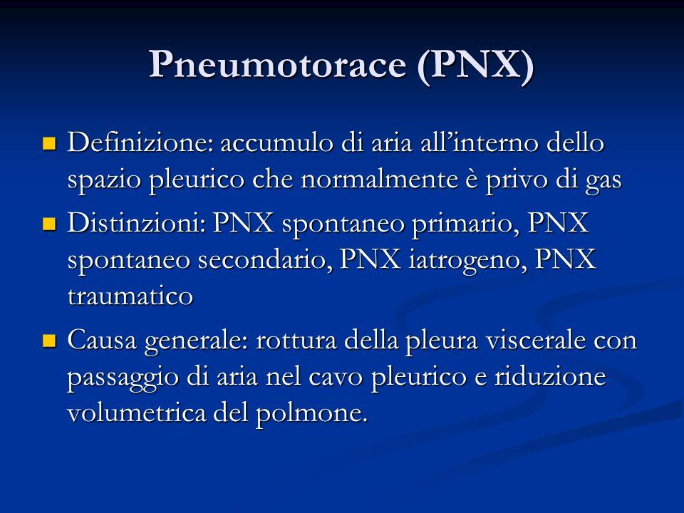 Pneumotorace (PNX) Definizione: accumulo di aria allinterno dello spazio pleurico che normalmente è privo di gas Definizione: accumulo di aria allinterno dello spazio pleurico che normalmente è privo di gas Distinzioni: PNX spontaneo primario, PNX spontaneo secondario, PNX iatrogeno, PNX traumatico Distinzioni: PNX spontaneo primario, PNX spontaneo secondario, PNX iatrogeno, PNX traumatico Causa generale: rottura della pleura viscerale con passaggio di aria nel cavo pleurico e riduzione volumetrica del polmone.