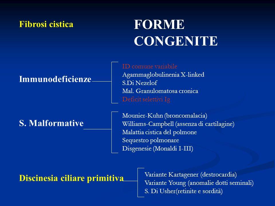 Fibrosi cistica Immunodeficienze S. Malformative Discinesia ciliare primitiva ID comune variabile Agammaglobulinenia X-linked S.Di Nezelof Mal. Granul