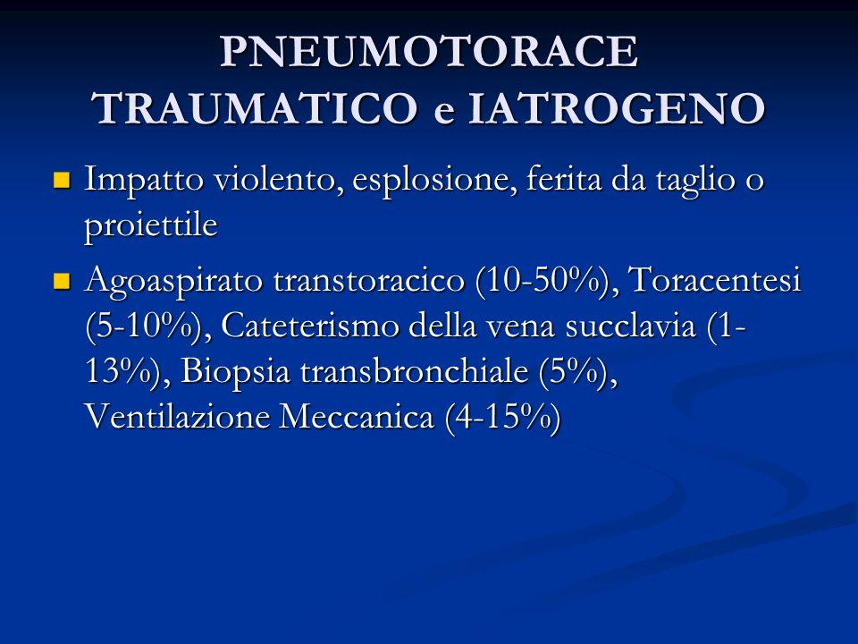 PNEUMOTORACE TRAUMATICO e IATROGENO Impatto violento, esplosione, ferita da taglio o proiettile Impatto violento, esplosione, ferita da taglio o proiettile Agoaspirato transtoracico (10-50%), Toracentesi (5-10%), Cateterismo della vena succlavia (1- 13%), Biopsia transbronchiale (5%), Ventilazione Meccanica (4-15%) Agoaspirato transtoracico (10-50%), Toracentesi (5-10%), Cateterismo della vena succlavia (1- 13%), Biopsia transbronchiale (5%), Ventilazione Meccanica (4-15%)