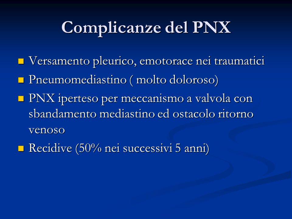 Complicanze del PNX Versamento pleurico, emotorace nei traumatici Versamento pleurico, emotorace nei traumatici Pneumomediastino ( molto doloroso) Pneumomediastino ( molto doloroso) PNX iperteso per meccanismo a valvola con sbandamento mediastino ed ostacolo ritorno venoso PNX iperteso per meccanismo a valvola con sbandamento mediastino ed ostacolo ritorno venoso Recidive (50% nei successivi 5 anni) Recidive (50% nei successivi 5 anni)