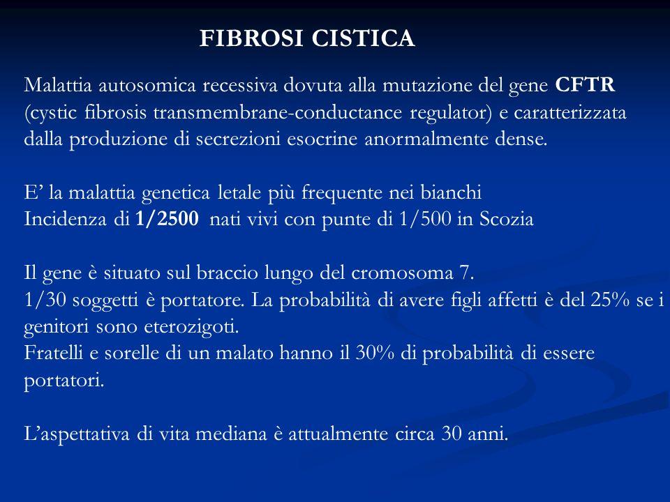 FIBROSI CISTICA Malattia autosomica recessiva dovuta alla mutazione del gene CFTR (cystic fibrosis transmembrane-conductance regulator) e caratterizzata dalla produzione di secrezioni esocrine anormalmente dense.