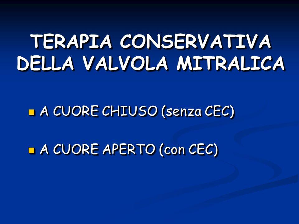 TERAPIA CONSERVATIVA DELLA VALVOLA MITRALICA A CUORE CHIUSO (senza CEC) A CUORE CHIUSO (senza CEC) A CUORE APERTO (con CEC) A CUORE APERTO (con CEC) A CUORE CHIUSO (senza CEC) A CUORE CHIUSO (senza CEC) A CUORE APERTO (con CEC) A CUORE APERTO (con CEC)