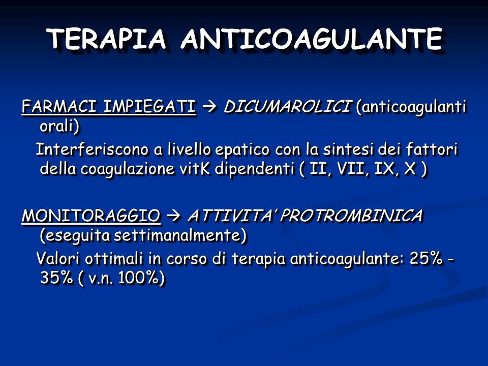 TERAPIA ANTICOAGULANTE FARMACI IMPIEGATI DICUMAROLICI (anticoagulanti orali) Interferiscono a livello epatico con la sintesi dei fattori della coagulazione vitK dipendenti ( II, VII, IX, X ) Interferiscono a livello epatico con la sintesi dei fattori della coagulazione vitK dipendenti ( II, VII, IX, X ) MONITORAGGIO ATTIVITA PROTROMBINICA (eseguita settimanalmente) Valori ottimali in corso di terapia anticoagulante: 25% - 35% ( v.n.