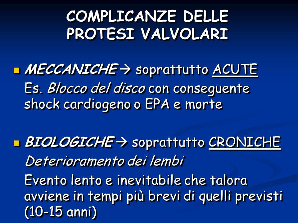 COMPLICANZE DELLE PROTESI VALVOLARI MECCANICHE soprattutto ACUTE MECCANICHE soprattutto ACUTE Es.