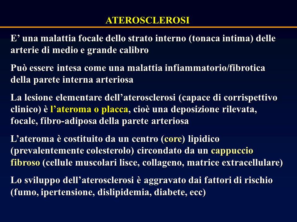 ATEROSCLEROSI E una malattia focale dello strato interno (tonaca intima) delle arterie di medio e grande calibro Può essere intesa come una malattia infiammatorio/fibrotica della parete interna arteriosa La lesione elementare dellaterosclerosi (capace di corrispettivo clinico) è lateroma o placca, cioè una deposizione rilevata, focale, fibro-adiposa della parete arteriosa Lateroma è costituito da un centro (core) lipidico (prevalentemente colesterolo) circondato da un cappuccio fibroso (cellule muscolari lisce, collageno, matrice extracellulare) Lo sviluppo dellaterosclerosi è aggravato dai fattori di rischio (fumo, ipertensione, dislipidemia, diabete, ecc)