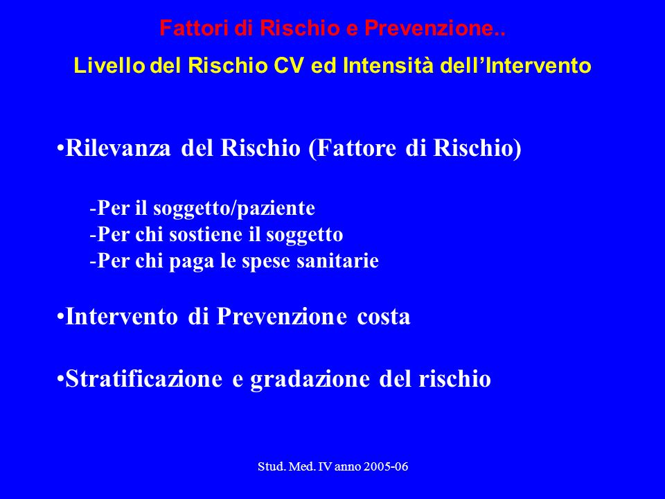 Stud.Med. IV anno 2005-06 Chi li causa, dove e cosa cerchiamo..