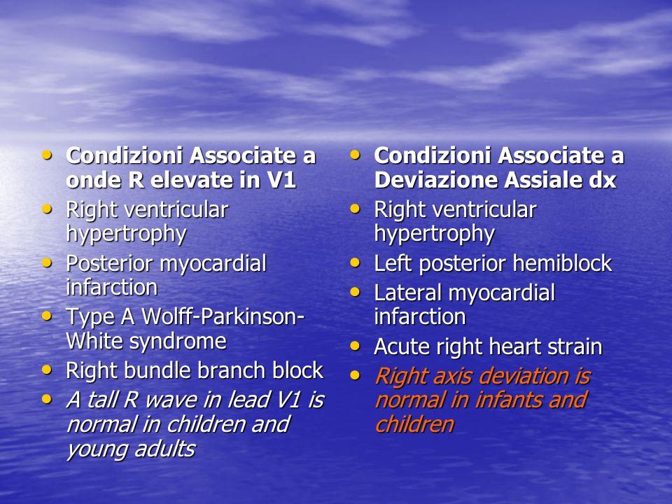 Condizioni Associate a onde R elevate in V1 Condizioni Associate a onde R elevate in V1 Right ventricular hypertrophy Right ventricular hypertrophy Po