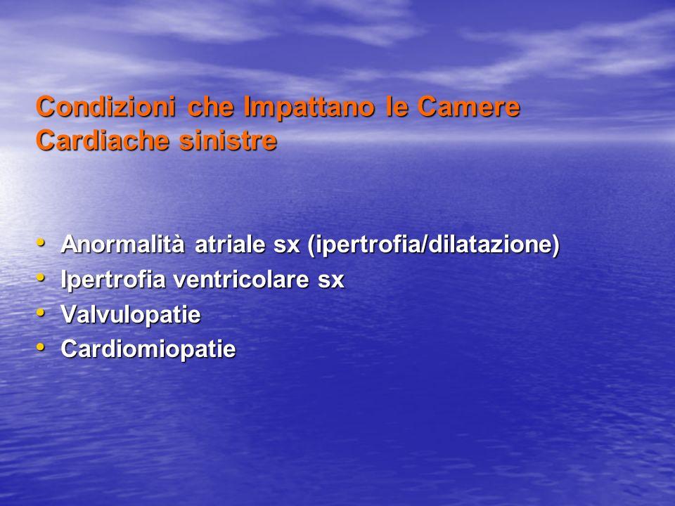 Condizioni che Impattano le Camere Cardiache sinistre Anormalità atriale sx (ipertrofia/dilatazione) Anormalità atriale sx (ipertrofia/dilatazione) Ip
