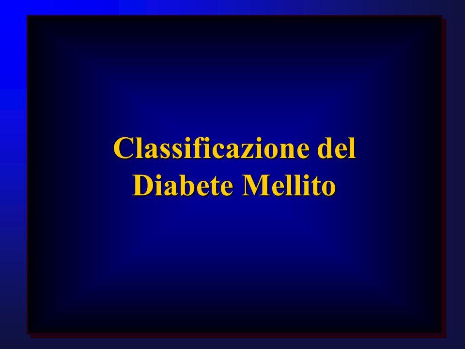 NGT: glicemia basale <110 mg/dlNGT: glicemia basale <110 mg/dl DM: glicemia basale 126 mg/dl, oppure glicemia >200 mg/dl a 120 dellOGTTDM: glicemia basale 126 mg/dl, oppure glicemia >200 mg/dl a 120 dellOGTT IGT: glicemia compresa tra 140 e 200 mg/dl a 120 dellOGTTIGT: glicemia compresa tra 140 e 200 mg/dl a 120 dellOGTT IFG: glicemia basale compresa tra 110 e 126 mg/dl e glicemia a 120 dellOGTT <140 mg/dlIFG: glicemia basale compresa tra 110 e 126 mg/dl e glicemia a 120 dellOGTT <140 mg/dl ADA (1997)