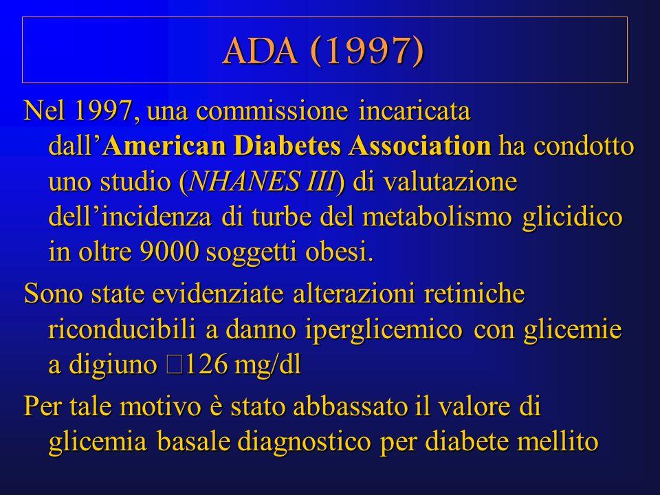 Nel 1997, una commissione incaricata dallAmerican Diabetes Association ha condotto uno studio (NHANES III) di valutazione dellincidenza di turbe del m