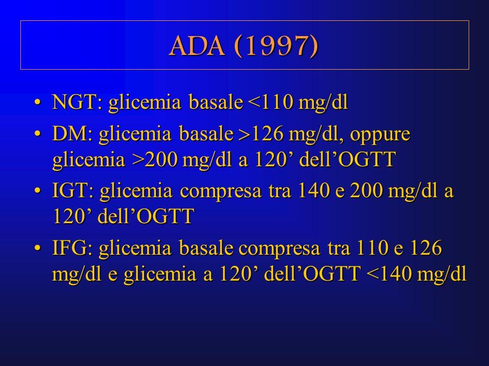 NGT: glicemia basale <110 mg/dlNGT: glicemia basale <110 mg/dl DM: glicemia basale 126 mg/dl, oppure glicemia >200 mg/dl a 120 dellOGTTDM: glicemia ba