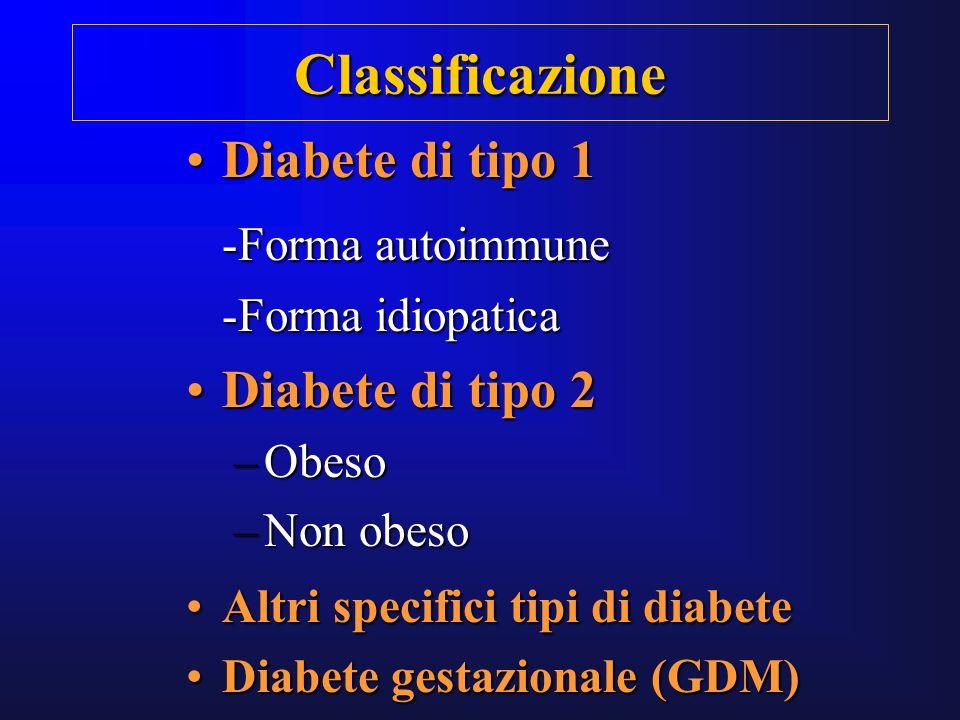 Diabete di tipo 1Diabete di tipo 1 -Forma autoimmune -Forma idiopatica Diabete di tipo 2Diabete di tipo 2 –Obeso –Non obeso Altri specifici tipi di di