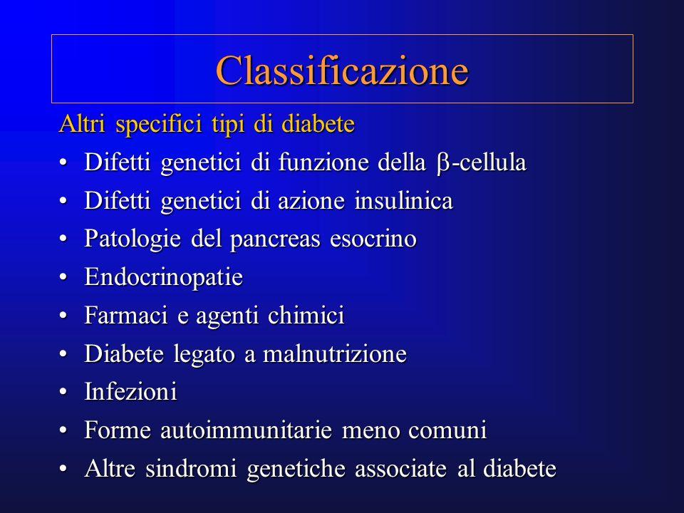 Classificazione Altri specifici tipi di diabete Difetti genetici di funzione della -cellulaDifetti genetici di funzione della -cellula Difetti genetic