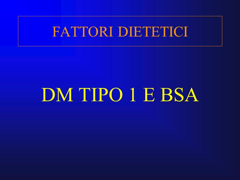 FATTORI DIETETICI DM TIPO 1 E BSA