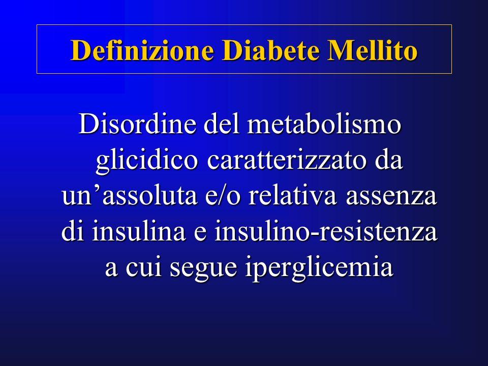 Disordine del metabolismo glicidico caratterizzato da unassoluta e/o relativa assenza di insulina e insulino-resistenza a cui segue iperglicemia Defin