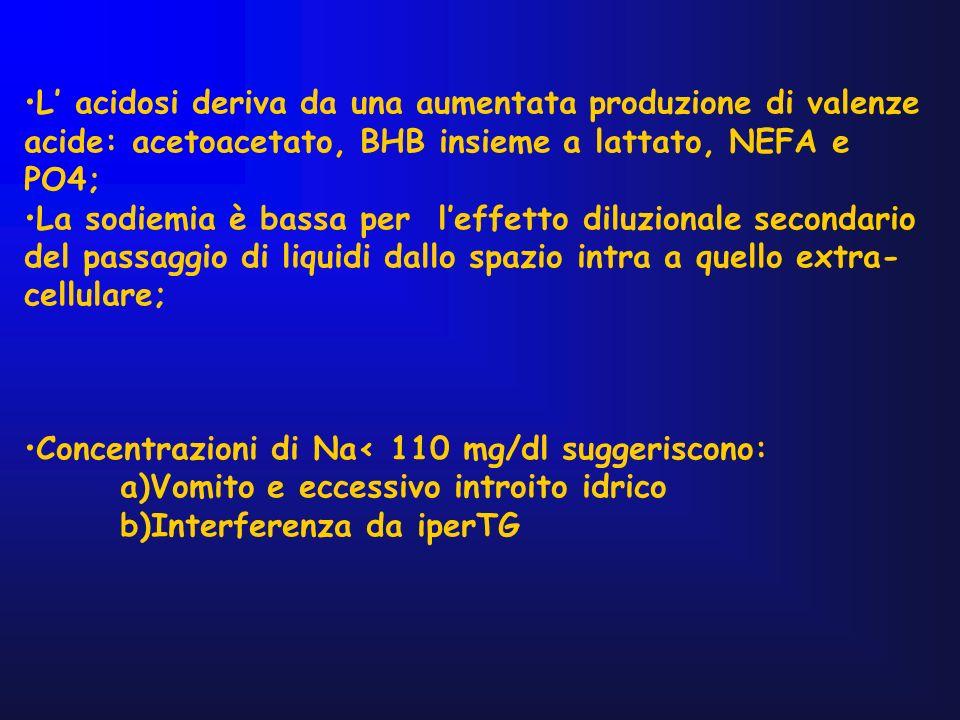 L acidosi deriva da una aumentata produzione di valenze acide: acetoacetato, BHB insieme a lattato, NEFA e PO4; La sodiemia è bassa per leffetto diluz