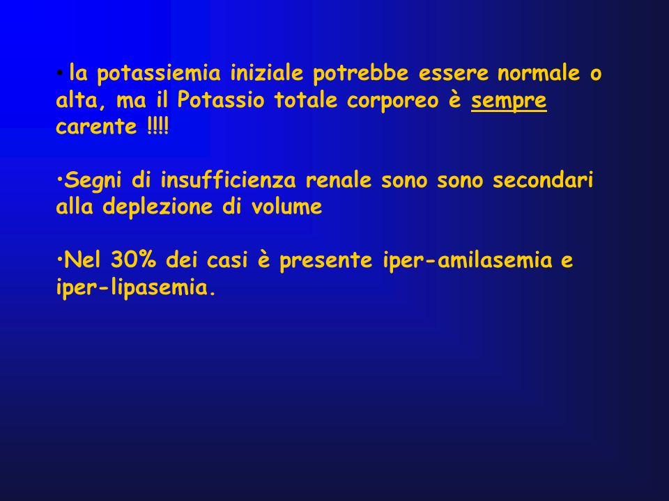 la potassiemia iniziale potrebbe essere normale o alta, ma il Potassio totale corporeo è sempre carente !!!! Segni di insufficienza renale sono sono s