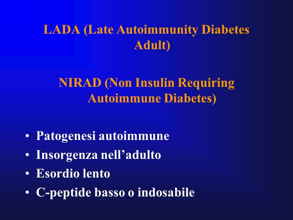 LADA (Late Autoimmunity Diabetes Adult) NIRAD (Non Insulin Requiring Autoimmune Diabetes) Patogenesi autoimmune Insorgenza nelladulto Esordio lento C-