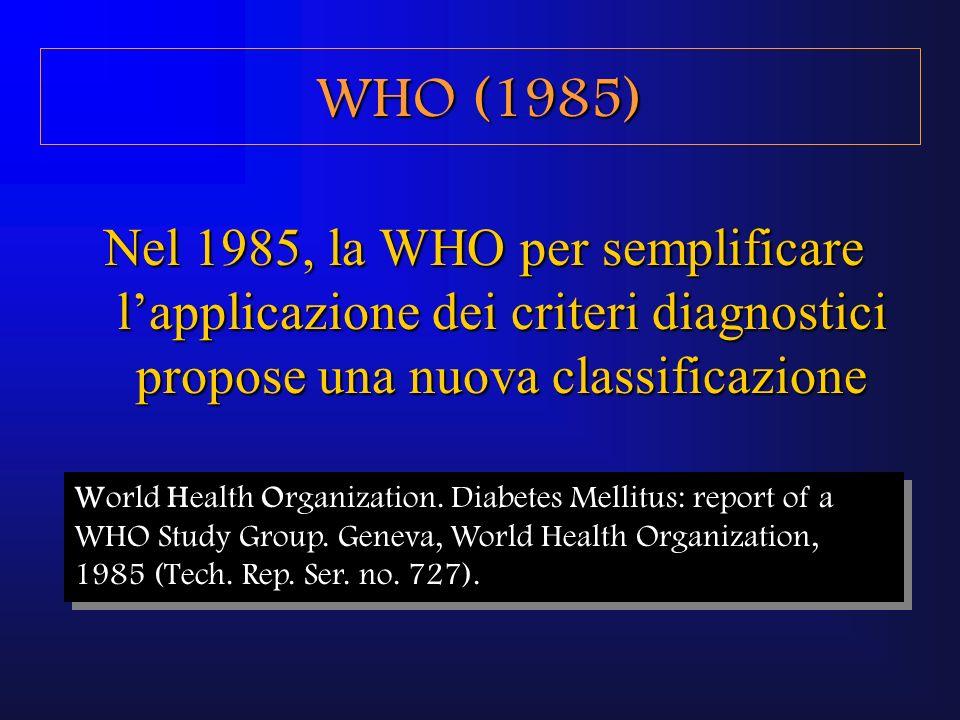 NGT: glicemia basale <110 mg/dlNGT: glicemia basale <110 mg/dl DM: glicemia basale >140 mg/dl, oppure glicemia >200 mg/dl a 120 dellOGTTDM: glicemia basale >140 mg/dl, oppure glicemia >200 mg/dl a 120 dellOGTT IGT: glicemia compresa tra 140 e 200 mg/dl a 120 dellOGTTIGT: glicemia compresa tra 140 e 200 mg/dl a 120 dellOGTT WHO (1985)