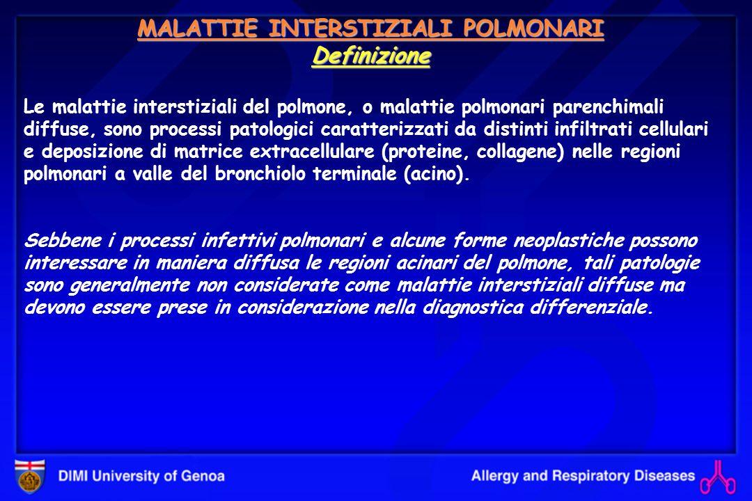 FIBROSI POLMONARE IDIOPATICA (IPF) (Hamman & Rich ?) Definizione Forma specifica di pneumopatia interstiziale cronica fibrosante ad etiologia sconosciuta che richiede, dal punto di vista diagnostico, una biopsia polmonare caratterizzata da un preciso quadro istopatologico (UIP), nonché: lesclusione di possibili altre etiologie conosciute (farmaci, esposizioni ambientali, connettiviti, ecc) prove di funzionalità respiratoria alterate (deficit restrittivo) con ipossiemia e deficit D L CO caratteristico aspetto Rx o HRCT del torace.
