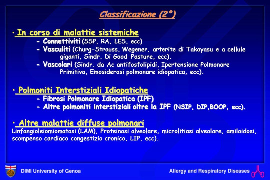 FIBROSI POLMONARE IDIOPATICA Istopatologia Istopatologia - A piccolo ingrandimento aspetto eterogeneo caratterizzato da alternanza di zone di polmone normale, infiammazione interstiziale, fibrosi e zone a nido dape; le alterazioni sono più evidenti nelle zone più periferiche, subpleuriche del polmone.