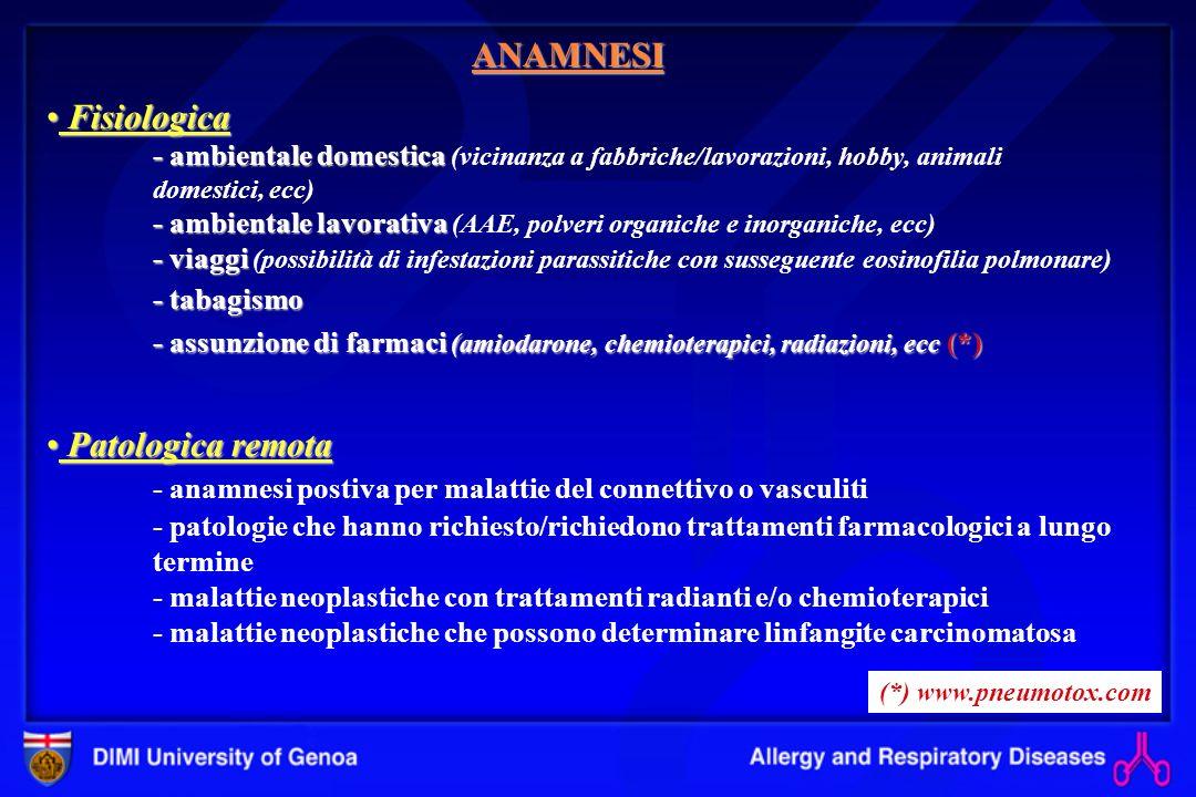 Patologica prossima (modalità di comparsa di sintomi e segni) Dispnea progressiva Tosse con/senza espettorazione Tosse con/senza espettorazione (generalmente secca in fase iniziale) Rapidità dinsorgenza dei sintomi Rapidità dinsorgenza dei sintomi ( acuta in: ARDS, infezioni, edema polmonare, AAE, emorragia alveolare diffusa, ecc.) Età di comparsa dei sintomi: - 20-40 aa (sarcoidosi, linfangioleiomiomatosi, istiocitosi, ecc) - >50 aa (IPF o UIP, ecc) Eventuale pleurite Eventuale pleurite (malattie del connettivo) Eventuale emottisi Eventuale emottisi (emorragia alveolare) Eventuale pneumotorace Eventuale pneumotorace (linfangioleiomiomatosi, istiocitosi a cellule di Langherans) ANAMNESI ESAME OBIETTIVO Paucisintomatico.