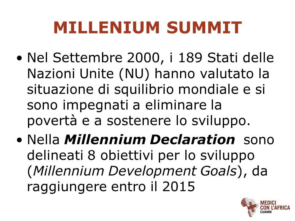 MILLENIUM SUMMIT Nel Settembre 2000, i 189 Stati delle Nazioni Unite (NU) hanno valutato la situazione di squilibrio mondiale e si sono impegnati a el