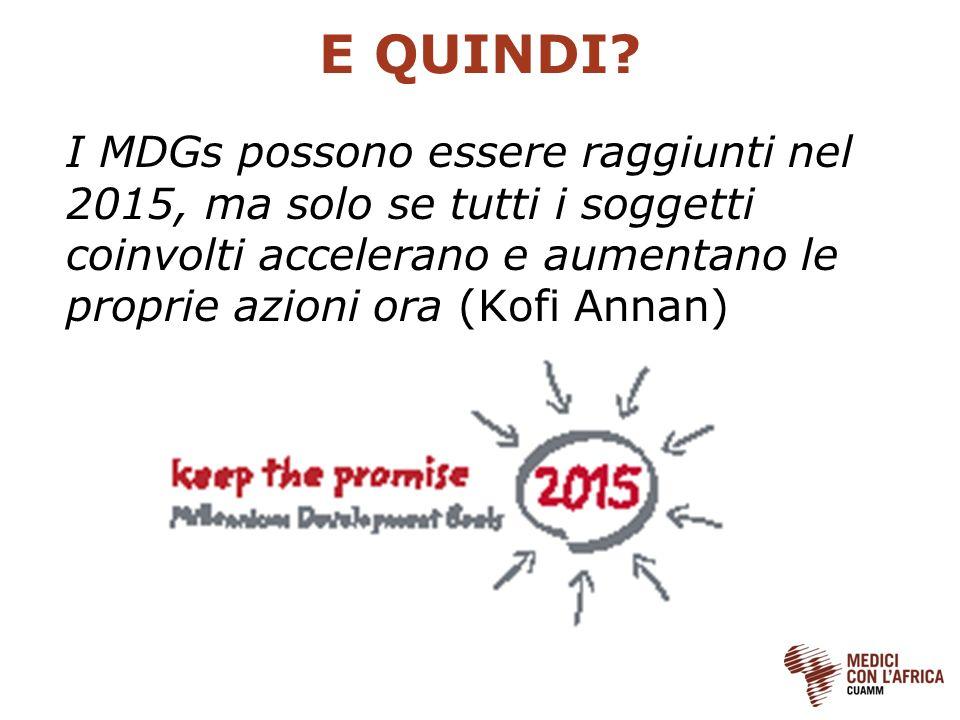 E QUINDI? I MDGs possono essere raggiunti nel 2015, ma solo se tutti i soggetti coinvolti accelerano e aumentano le proprie azioni ora (Kofi Annan)