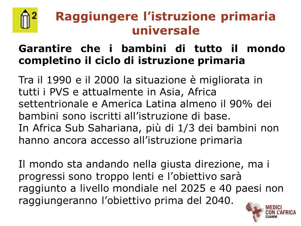 Raggiungere listruzione primaria universale Garantire che i bambini di tutto il mondo completino il ciclo di istruzione primaria Tra il 1990 e il 2000