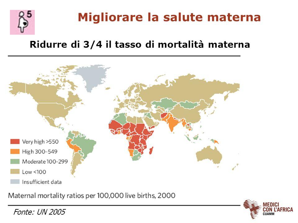 Migliorare la salute materna Ridurre di 3/4 il tasso di mortalità materna Fonte: UN 2005