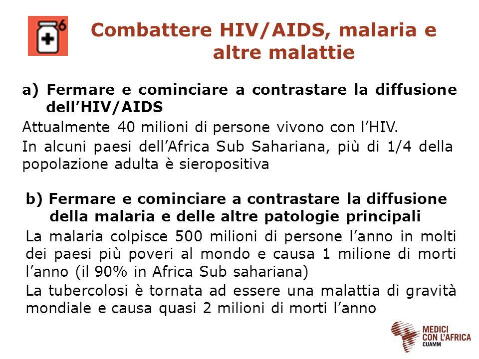 Combattere HIV/AIDS, malaria e altre malattie Attualmente 40 milioni di persone vivono con lHIV. In alcuni paesi dellAfrica Sub Sahariana, più di 1/4