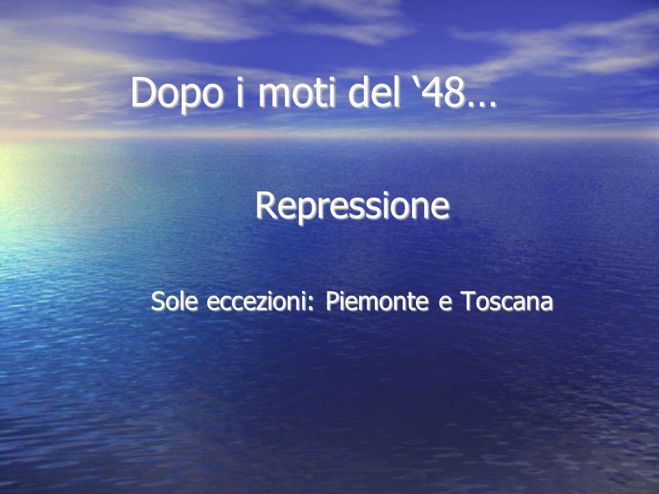Dopo i moti del 48… Repressione Sole eccezioni: Piemonte e Toscana