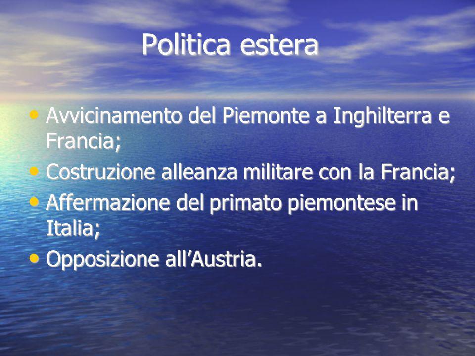 Politica estera Avvicinamento del Piemonte a Inghilterra e Francia; Avvicinamento del Piemonte a Inghilterra e Francia; Costruzione alleanza militare