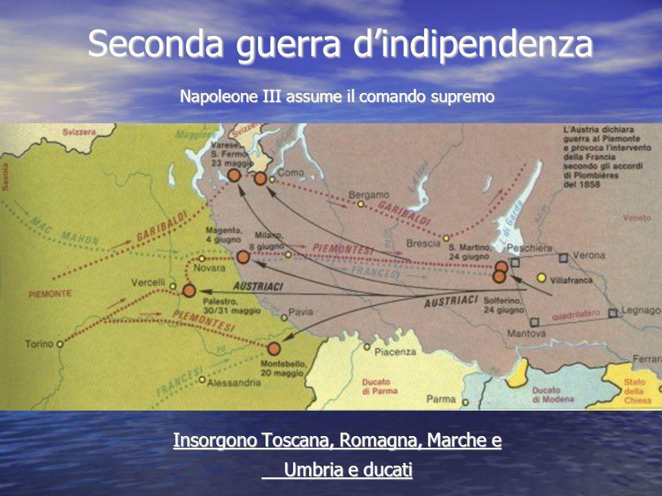Seconda guerra dindipendenza Napoleone III assume il comando supremo Insorgono Toscana, Romagna, Marche e Umbria e ducati Umbria e ducati