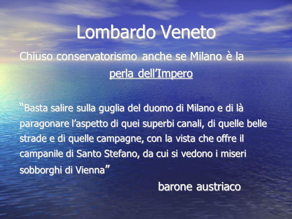 Lombardo Veneto Chiuso conservatorismo anche se Milano è la perla dellImpero Basta salire sulla guglia del duomo di Milano e di là Basta salire sulla