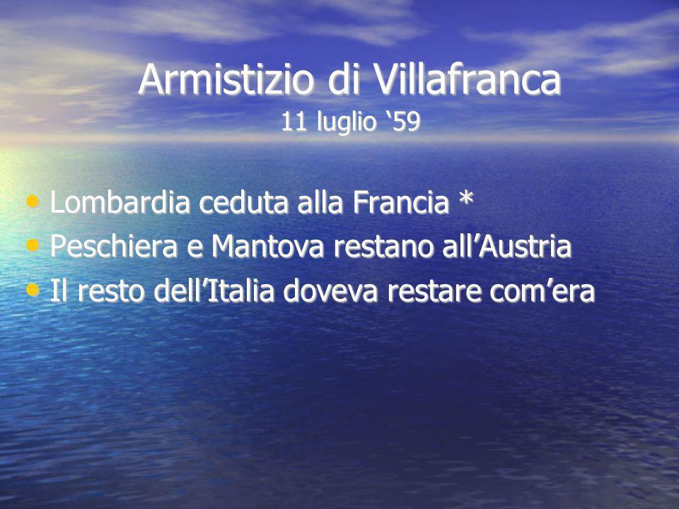 Armistizio di Villafranca 11 luglio 59 Lombardia ceduta alla Francia * Lombardia ceduta alla Francia * Peschiera e Mantova restano allAustria Peschier