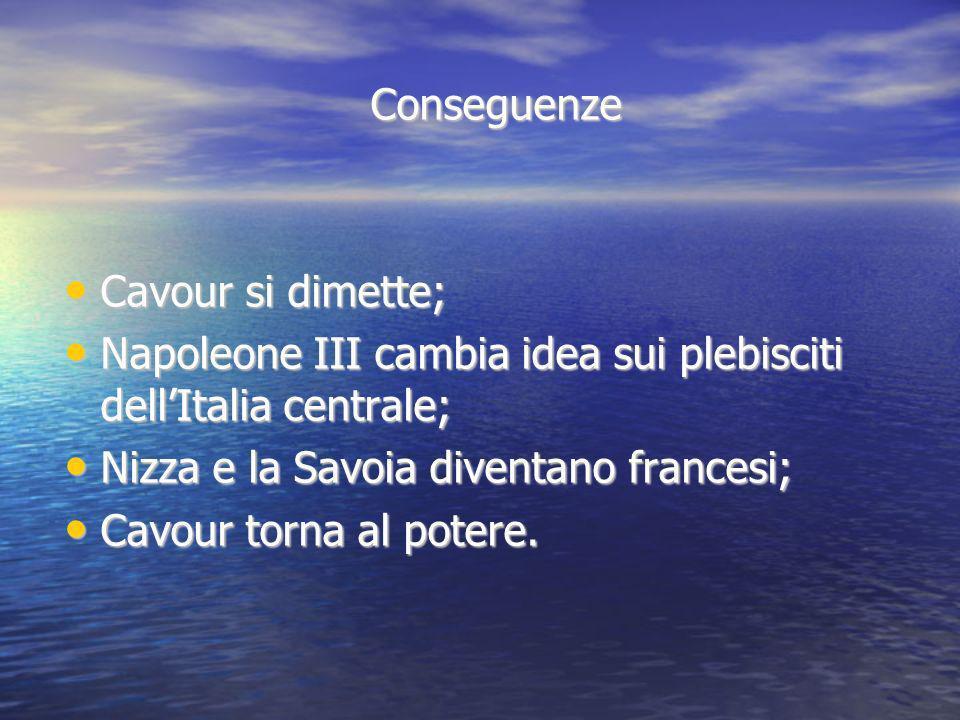Conseguenze Cavour si dimette; Cavour si dimette; Napoleone III cambia idea sui plebisciti dellItalia centrale; Napoleone III cambia idea sui plebisci