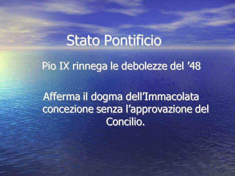 Stato Pontificio Pio IX rinnega le debolezze del 48 Afferma il dogma dellImmacolata concezione senza lapprovazione del Concilio.
