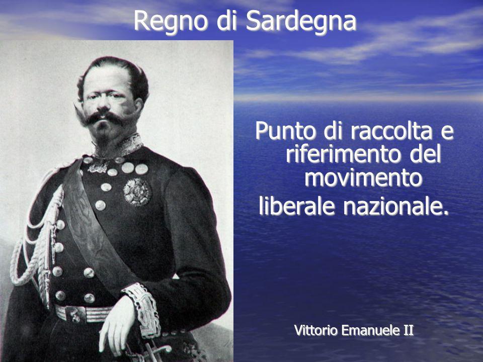 Regno di Sardegna Punto di raccolta e riferimento del movimento liberale nazionale. Vittorio Emanuele II
