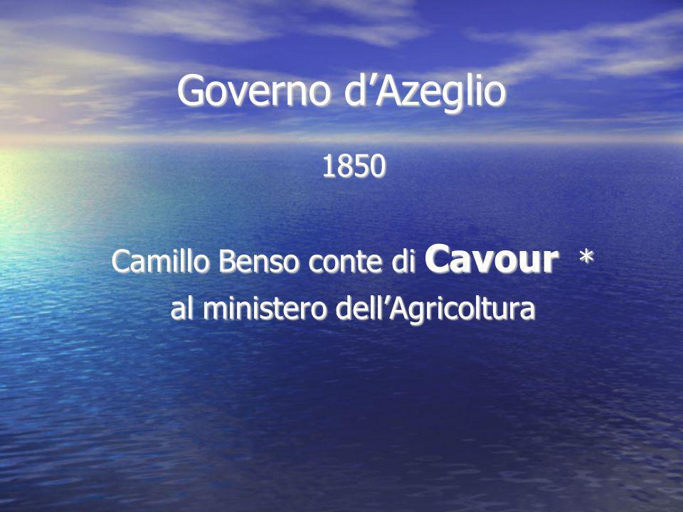 Governo dAzeglio 1850 Camillo Benso conte di Cavour * al ministero dellAgricoltura