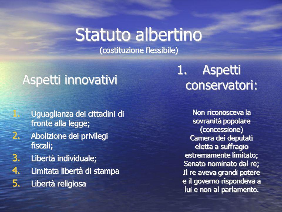 Statuto albertino (costituzione flessibile) Aspetti innovativi 1. Uguaglianza dei cittadini di fronte alla legge; 2. Abolizione dei privilegi fiscali;