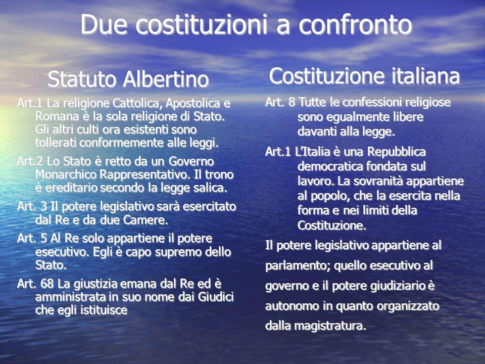 Due costituzioni a confronto Statuto Albertino Art.1 La religione Cattolica, Apostolica e Romana è la sola religione di Stato. Gli altri culti ora esi