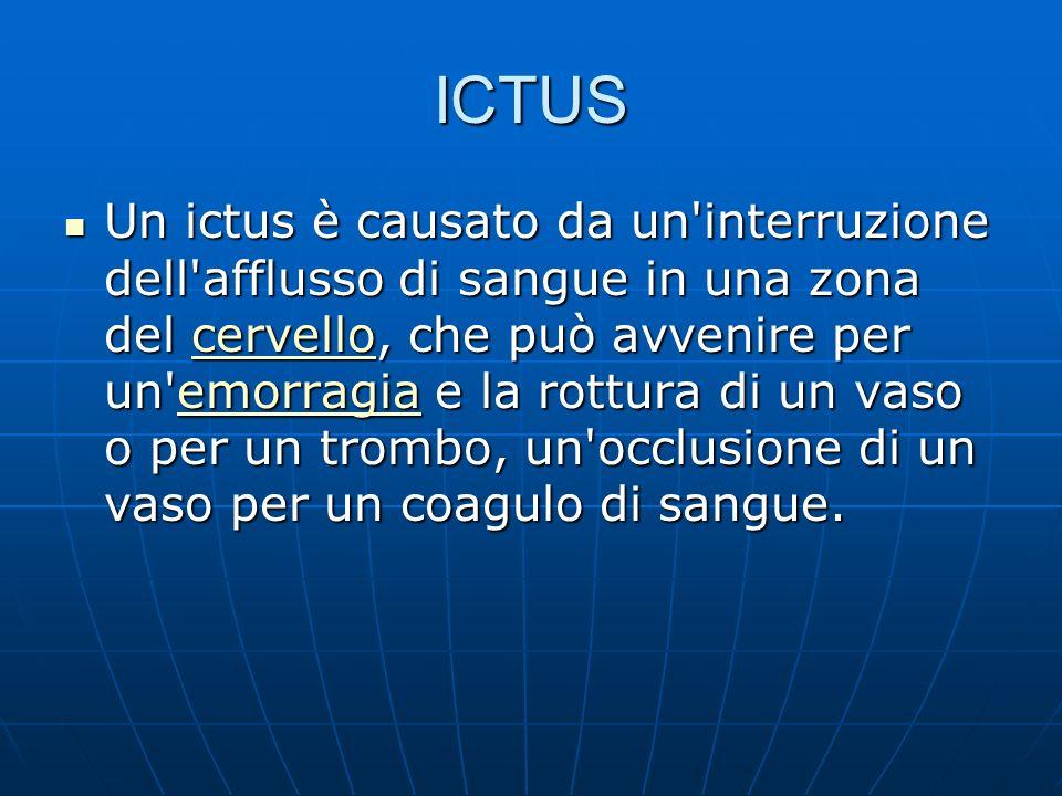 ICTUS Un ictus è causato da un interruzione dell afflusso di sangue in una zona del cervello, che può avvenire per un emorragia e la rottura di un vaso o per un trombo, un occlusione di un vaso per un coagulo di sangue.