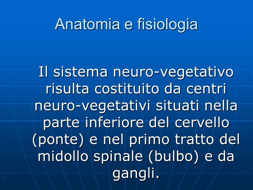 Anatomia e fisiologia Il sistema neuro-vegetativo risulta costituito da centri neuro-vegetativi situati nella parte inferiore del cervello (ponte) e nel primo tratto del midollo spinale (bulbo) e da gangli.