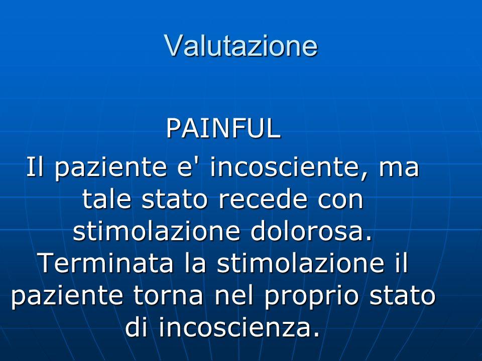 Valutazione PAINFUL Il paziente e incosciente, ma tale stato recede con stimolazione dolorosa.